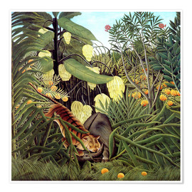 Poster  Combat of a Tiger and a Buffalo - Henri Rousseau