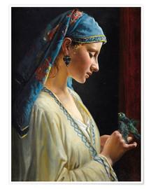 Premiumposter Young woman with bird