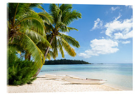 Akrylglastavla  Beach with palm trees and turquoise ocean in Tahiti - Jan Christopher Becke