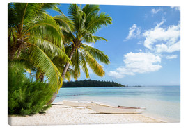 Canvastavla  Beach with palm trees and turquoise ocean in Tahiti - Jan Christopher Becke