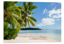 PVC-tavla  Beach with palm trees and turquoise ocean in Tahiti - Jan Christopher Becke