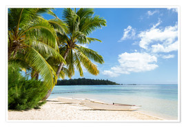 Premiumposter  Beach with palm trees and turquoise ocean in Tahiti - Jan Christopher Becke