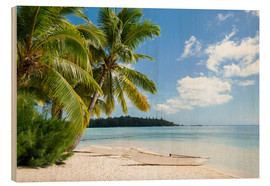 Trätavla  Beach with palm trees and turquoise ocean in Tahiti - Jan Christopher Becke