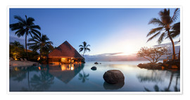 Premiumposter  Infiniti pool by the sea in Tahiti, French Polynesia - Jan Christopher Becke