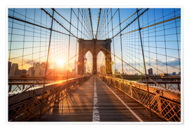 Poster  Brooklyn Bridge at sunrise, New York - Jan Christopher Becke