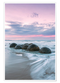 Premiumposter  Moeraki boulders, New Zealand - Matteo Colombo