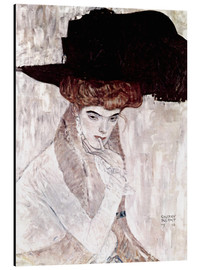 Aluminiumtavla  The Black Feather Hat - Gustav Klimt