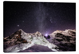 Canvastavla  Eiger, Monch and Jungfrau mountain peaks at night - Peter Wey
