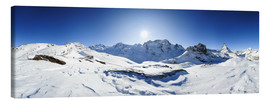 Canvastavla  360 degree mountain panorama from Riffelberg above Zermatt with Monte Rosa and Matterhorn in Winter - Peter Wey