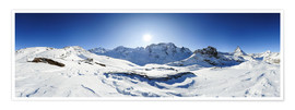 Premiumposter 360 degree mountain panorama from Riffelberg above Zermatt with Monte Rosa and Matterhorn in Winter