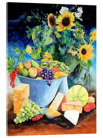 Akrylglastavla  Still life with sunflowers, fruits and cheese - Gerhard Kraus