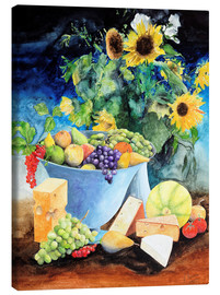Canvastavla  Still life with sunflowers, fruits and cheese - Gerhard Kraus