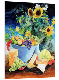 PVC-tavla  Still life with sunflowers, fruits and cheese - Gerhard Kraus
