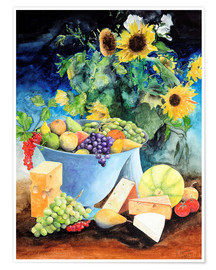 Premiumposter  Still life with sunflowers, fruits and cheese - Gerhard Kraus