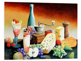 PVC-tavla  Stil life with coffee grinder, fruits and cheese - Gerhard Kraus