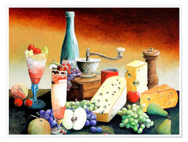 Premiumposter Stil life with coffee grinder, fruits and cheese