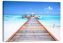 Canvastavla  Pier to tropical blue sea, Maldives - Matteo Colombo