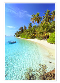 Premiumposter  Tropical beach with a boat, Maldives - Matteo Colombo