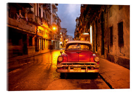 Akrylglastavla  Red vintage American car in Havana - Lee Frost