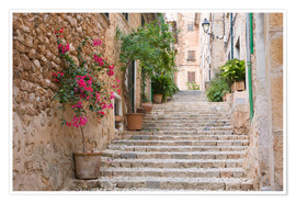 Premiumposter  Gasse in Fornalutx, Mallorca - Ruth Tomlinson