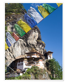 Poster  Taktshang Goemba (Tiger's Nest Monastery) and prayer flags, Paro Valley, Bhutan, Asia - Lee Frost