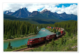 Premiumposter  Morants bend with railroad and Bow River - Hans-Peter Merten