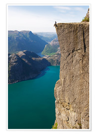 Premiumposter  Man sitting on Pulpit Rock, Lysefjord - Christian Kober