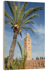 Trätavla  Minaret of the Koutoubia Mosque, UNESCO World Heritage Site, Marrakech, Morocco, North Africa, Afric - Nico Tondini
