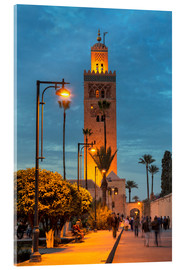 Akrylglastavla  The Minaret of Koutoubia Mosque illuminated at night, UNESCO World Heritage Site, Marrakech, Morocco - Martin Child