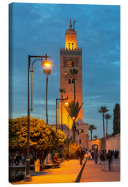 Canvastavla  The Minaret of Koutoubia Mosque illuminated at night, UNESCO World Heritage Site, Marrakech, Morocco - Martin Child