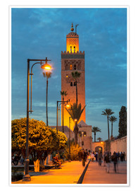 Premiumposter  The Minaret of Koutoubia Mosque illuminated at night, UNESCO World Heritage Site, Marrakech, Morocco - Martin Child