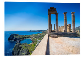 Akrylglastavla  Acropolis of Lindos, Rhodes, Dodecanese Islands, Greek Islands, Greece, Europe - Michael Runkel