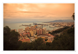 Premiumposter  High angle view of Malaga cityscape with bullring and docks - Ian Egner