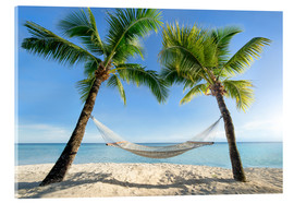 Akrylglastavla  Hammock at the beach in the south pacific - Jan Christopher Becke