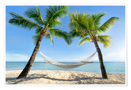 Premiumposter  Hammock at the beach in the south pacific - Jan Christopher Becke