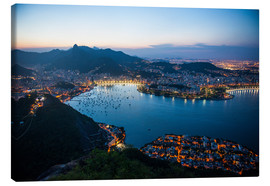 Canvastavla  View from the Sugarloaf at sunset, Rio de Janeiro, Brazil, South America - Michael Runkel