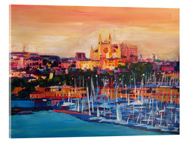 Akrylglastavla  Spain Balearic Island Palma de Mallorca with Harbour and Cathedral - M. Bleichner