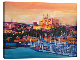 Canvastavla  Spain Balearic Island Palma de Mallorca with Harbour and Cathedral - M. Bleichner