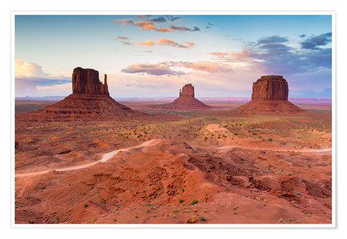 Premiumposter Monument Valley at dusk
