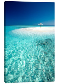 Canvastavla  Tropical sandbank and sun umbrella - Sakis Papadopoulos