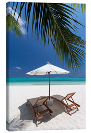 Canvastavla  Lounge chairs on tropical beach - Sakis Papadopoulos