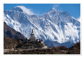 Premiumposter  Tenzing Norgye Stupa & Mount Everest - John Woodworth