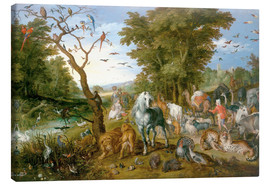 Canvastavla  Noah leads the animals into the ark - Jan Brueghel d.Ä.