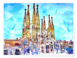 Premiumposter  Turquoise sky over the Sagrada Familia - M. Bleichner