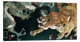 Canvastavla  A dragon and two tigers - Utagawa Sadahide