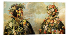 Akrylglastavla  A anthropomorphosic profile of a man and a woman - Giuseppe Arcimboldo