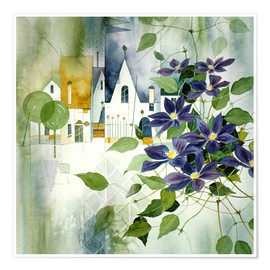 Premiumposter Rural impression with clematis
