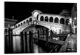 Akrylglastavla  VENICE Rialto Bbridge at Night - Melanie Viola