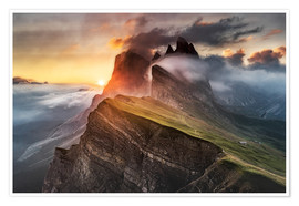 Premiumposter  Sunrise in the Dolomites at Seceda - Andreas Wonisch