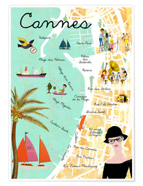 Premiumposter  Cannes vintage Collage - GreenNest